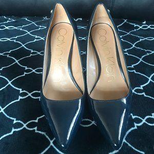 Navy blue Calvin Klein shiny 3 inch heels